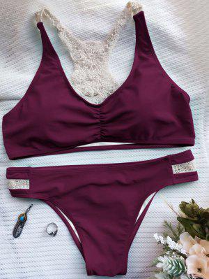 Bikini Brassière Panneau En Crochet - Rouge Foncé - Rouge Foncé S