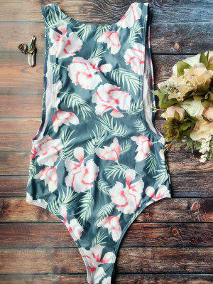 High Cut Tropical Print Swimwear - Blue S