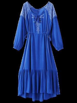 Bohemian Drawstring Embroidered Maxi Dress - Blue M