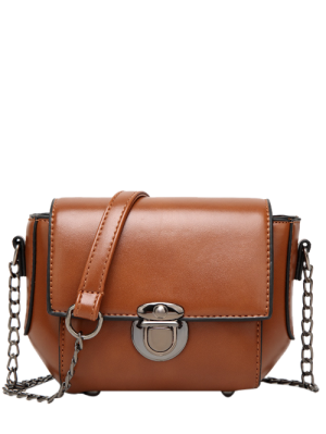 Mini Cross Body Bag With Chains - Brown