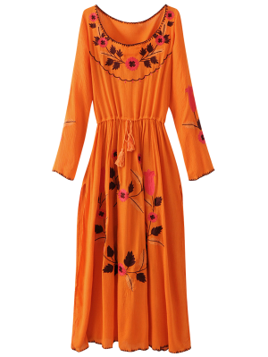 Floral Bordado Del Vestido Largo De La Manga De Hendidura - Naranja Rosa L