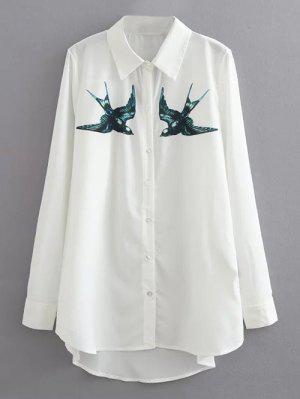 Swallow Print Casual Shirt - White M