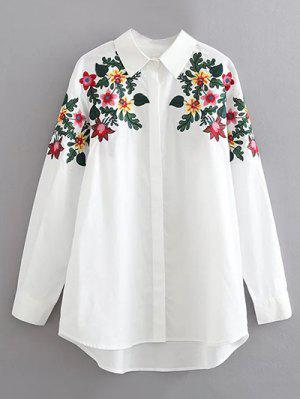 Floral Cotton Camisa Bordada - Branco S