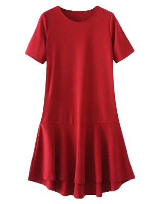 Peplum Vestido De Cambio Hem - Rojo S