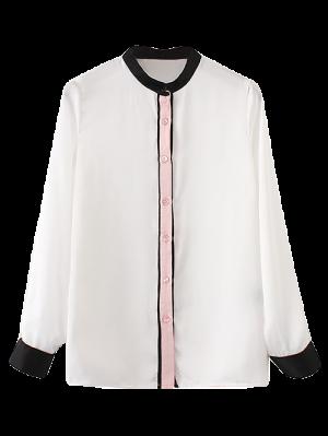 Mandarin Collar Color Block Shirt - Branco S
