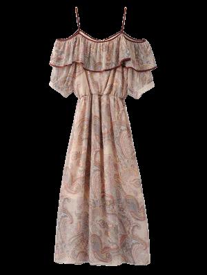 Frilly Cold Shoulder Chiffon Dress - Beige L
