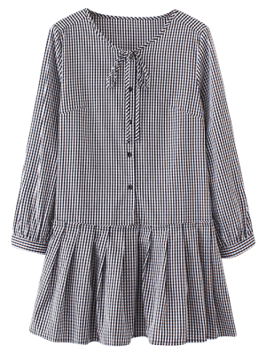 Long Sleeve Plaid Ruffle Dress - Checked S