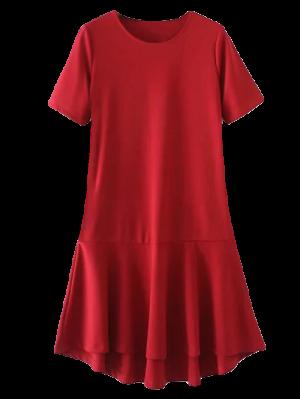 Peplum Hem Shift Dress - Red L