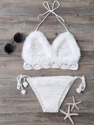 Tie Halter La Piel De Imitación De Punto Conjunto Bikini - Blanco