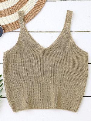 Knitting Cropped Tank Top - Dark Khaki