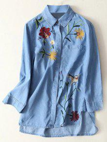 Floral Embroidered High Low Denim Shirt - Light Blue S