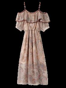 فستان زخرفي باردة الكتف الشيفون  - اللون البيج M