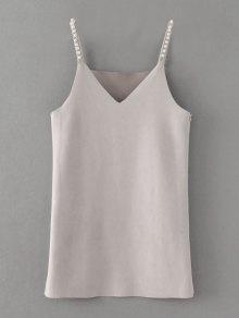 Beaded Faux Suede Slip Dress - Gray M