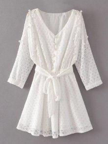 Mini Vestido De Encaje Con Cuentas - Blanco L