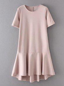 Peplum Hem Shift Dress - Pink L