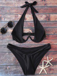 Halter High Cut Bikini Set - Black L