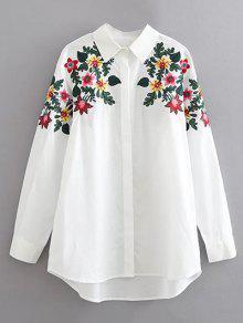 قميص القطن بتطريز الزهور  - أبيض Xl