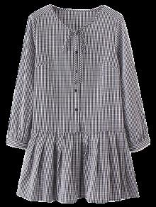 Long Sleeve Plaid Vestido Plissado - Verificado S