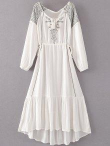 Bohemian Drawstring Embroidered Maxi Dress - White M
