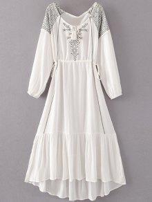 Bohemian Drawstring Embroidered Maxi Dress - White Xl
