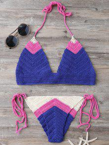 Bikinis Tricot Halter Lacet - Bleu