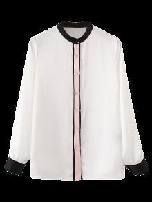 Mandarin Collar Color Block Shirt - White M