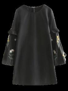 Robe Noire Aux Manches Brodées - Noir L