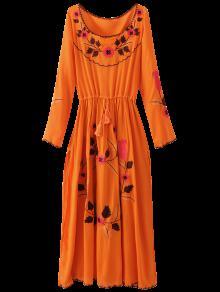 Floral Embroidered Long Sleeve Slit Vintage Dress - Orangepink L