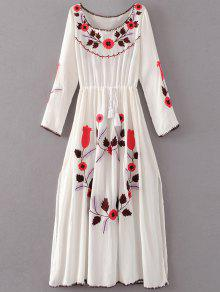 Floral Embroidered Long Sleeve Slit Vintage Dress - White L