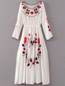 فستان مطرز بالأزهار طويلة الأكمام انقسام كلاسيكي - أبيض L