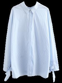 Tie Back Striped Boyfriend Shirt - Light Blue S