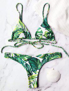 Traje De Baño Con Estampado Tropical De Palma - Verde S