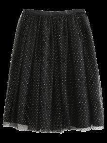 Golden Thread Tulle Layered Skirt - Black M