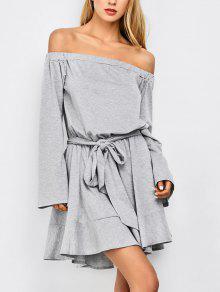 Off The Shoulder Flare Sleeve Dress - Light Gray L
