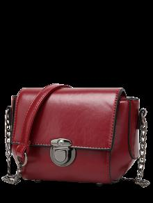 Mini Cross Body Bag With Chains - Wine Red