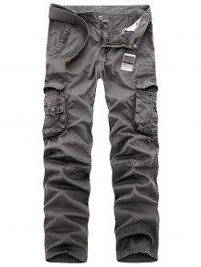 سحاب جيوب متعددة التخسيس السراويل البضائع - رمادي الحديد 40