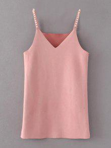 Beaded Faux Suede Slip Dress - Pink S
