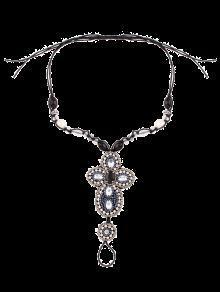 Perlas De Imitación Del Grano Del Rhinestone Para El Tobillo - Negro