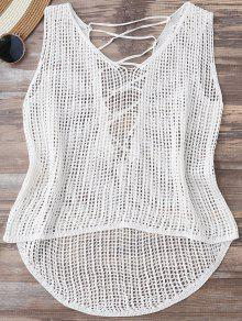 High Low Lace Up Crochet Top - White
