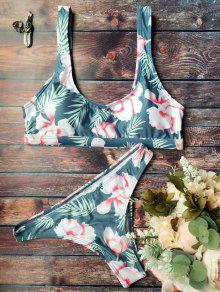 Traje De Bikini De Flores Con Cuello En U - Verde S