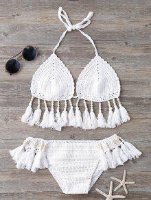 Los Granos De Las Borlas Del Bikini De Ganchillo - Blanco