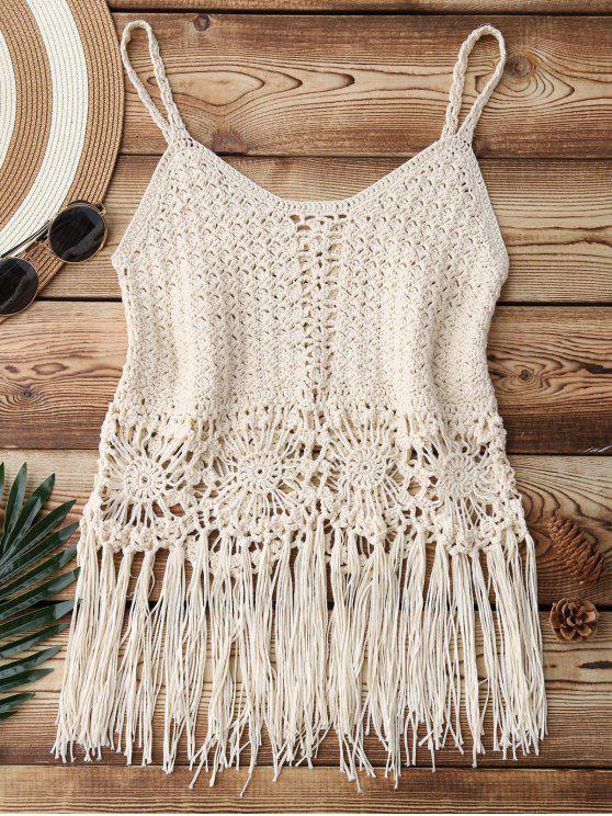 fashion Fringed Crochet Cover Up Top - APRICOT ONE SIZE