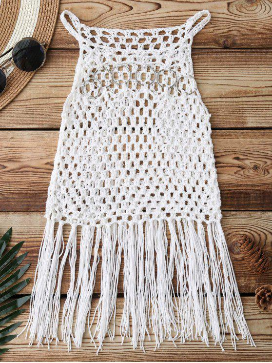 trendy Fringed Crochet Cover Up - WHITE ONE SIZE