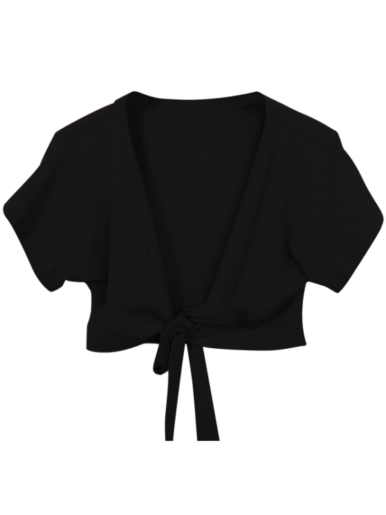 women's Knot Hem Open Front Cropped Top - BLACK ONE SIZE