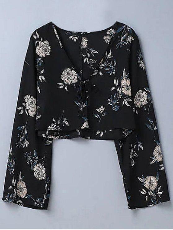 online Cropped Floral Blouse - BLACK L