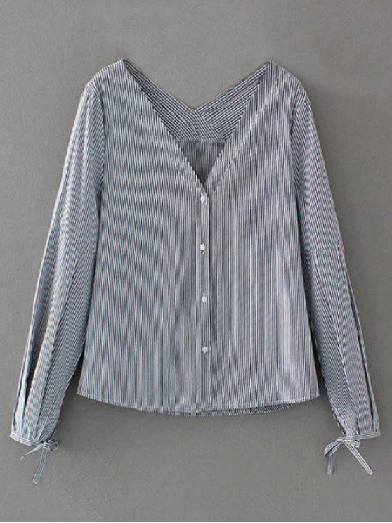 outfit V Neck Striped Tie Cuff Blouse - STRIPE L