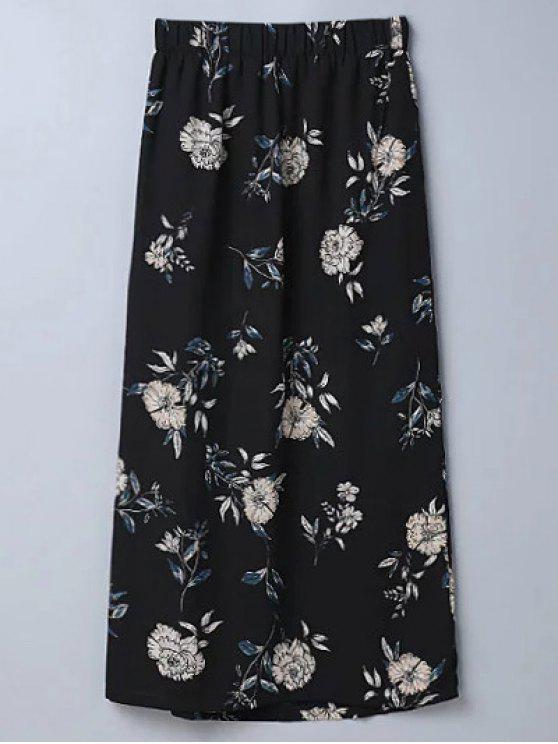 Jupe évasée fendue imprimée fleur - Noir M