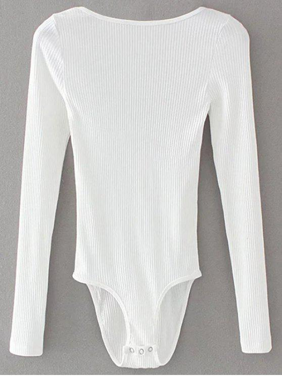 fashion Low Back Ribbed Bodysuit - WHITE L