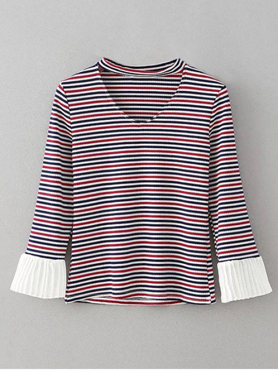 lady Chiffon Panel Striped Choker T-Shirt - STRIPE M