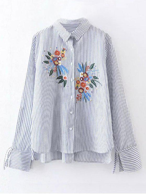 hot High Low Flower Embroidered Striped Shirt - STRIPE S